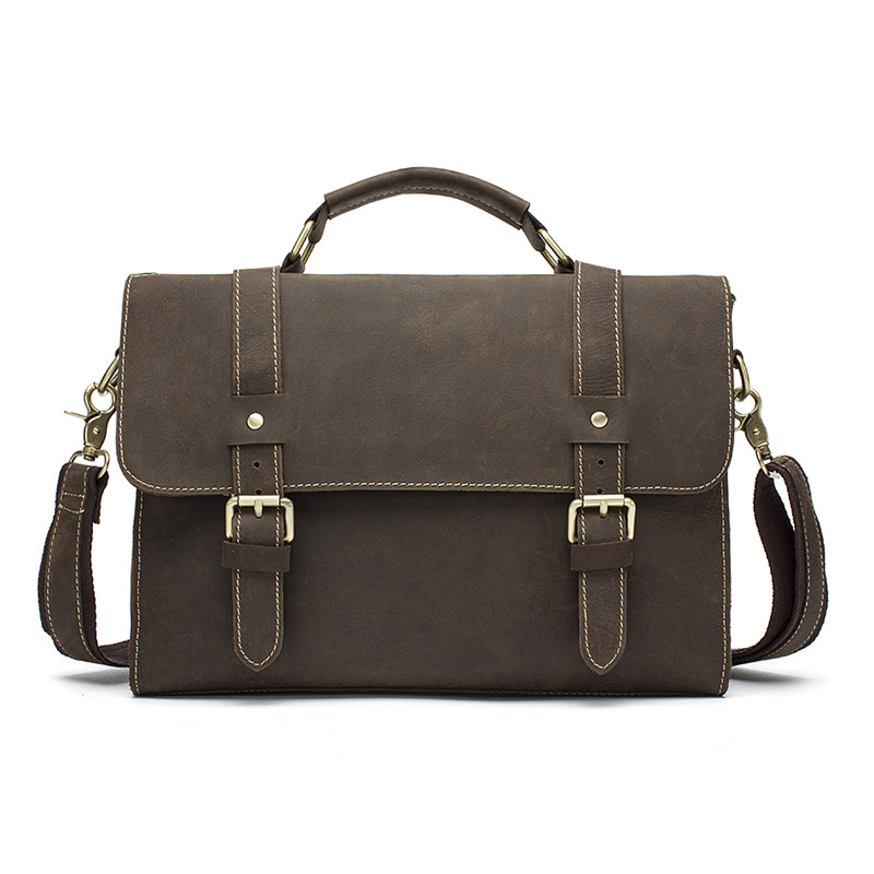 Men Laptop Vintage Messenger Bags Crazy Horse Genuine Leather Shoulder Bags Men's Business Briefcase Male Crossbody Bag for Men ягоды карелии сироп красносмородиновый с мякотью 0 51 л