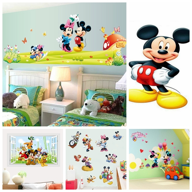 . Hot Mickey Mouse Minnie mouse wall sticker children room nursery decoration  diy adhesive mural removable vinyl wallpaper DE5086
