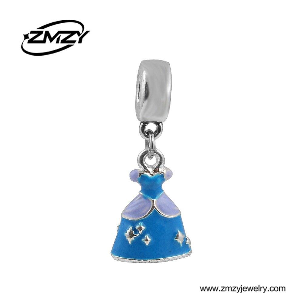 2cfbfe35d3d6 Nuevo Producto DIY joyería esmalte azul vestido colgante encanto con hecho  a mano plateado se adapta a la pulsera de Pandora para el regalo