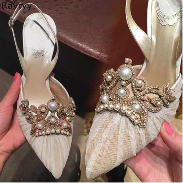 0c78d6ca7150bd Wedding Shoes woman black lace high heel white pearl decor string bead sexy  pumps pointed toe
