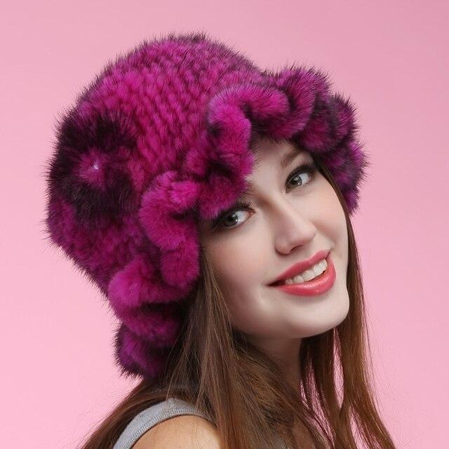 Осень зима супер тёплый снег шоу женщины из натуральной мех норки больше цветов русский стиль кепка леди luxur мех шляпа волос цветок мех