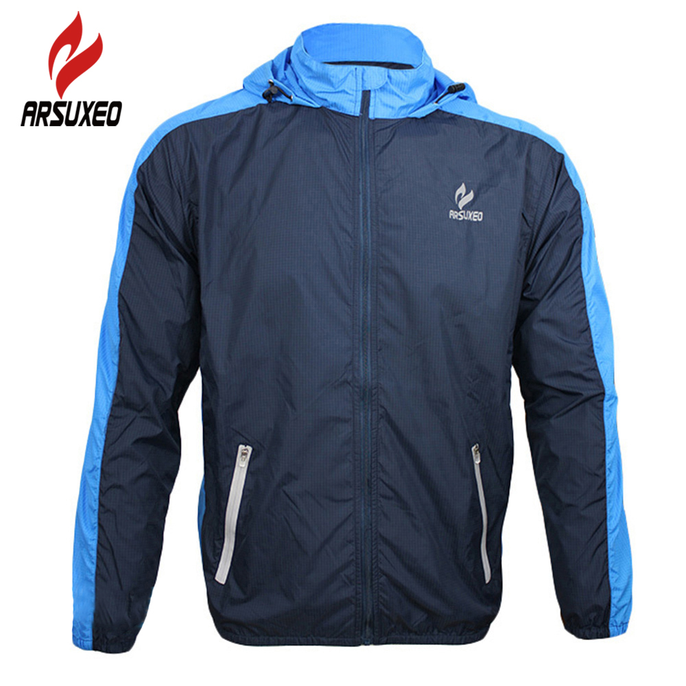 ARSUXEO Breathable Running Clothing Long Sleeve Jacke Wind Coat Men's Windproof Waterproof Cycling Bicycle Bike Jersey Clothing