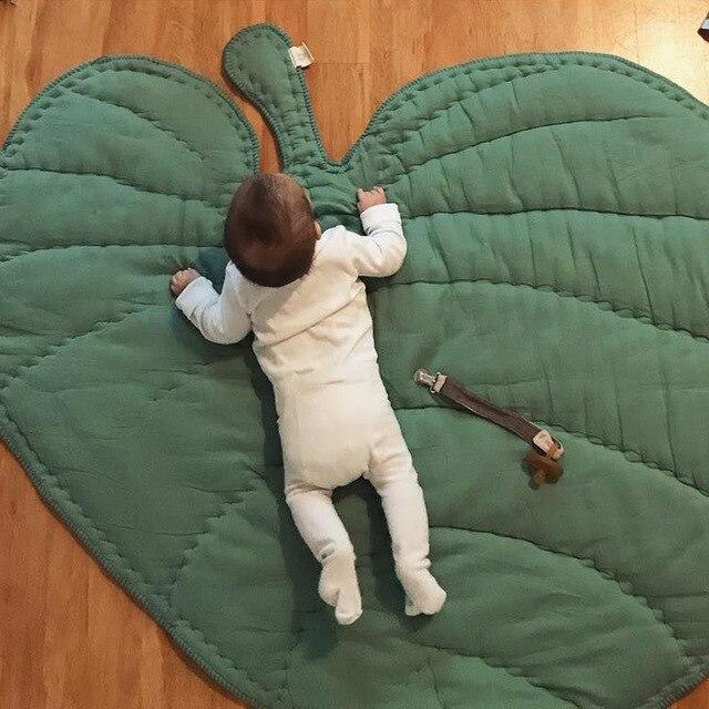 Manta de algodón con forma de hoja para bebé, tapete de juego para niño, alfombra para gatear, decoración para el hogar para niño, ropa de cama para bebé, manta para cochecito