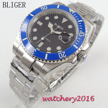 40mm Bliger black Dial Auto Date ceramic bezel Luminous Marks Men's Sapphire Glass Stainless Steel Automatic Mechanical Watch