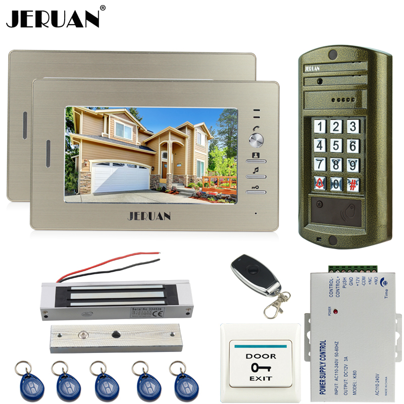 JERUAN Wired 7 inch TFT Video Door Phone Intercom System kit Metal panel Waterproof Access Password keypad HD Mini Camera 1V2 jeruan wired 7 inch video doorbell intercom door phone system kit new metal waterproof access password keypad hd mini camera 1v3