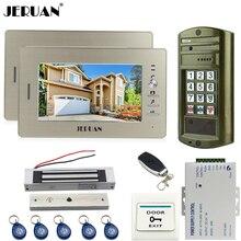 JERUAN Wired 7 inch TFT Video Door Phone Intercom System kit Metal panel Waterproof Access Password keypad HD Mini Camera 1V2
