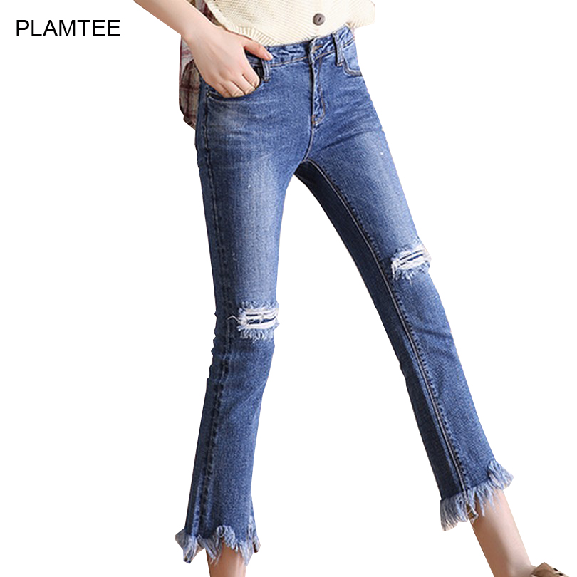 Slim Fit Burr Ripped Jeans for Women Clothing Fashion Hole Solid Vaqueros Mujer Plus Size Fashion Denim Pants Wide Leg Pantalon купить