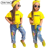 Children Sets For Girls Fashion 2017 New Style Girls Suits For Children Girls T Shirt Pants
