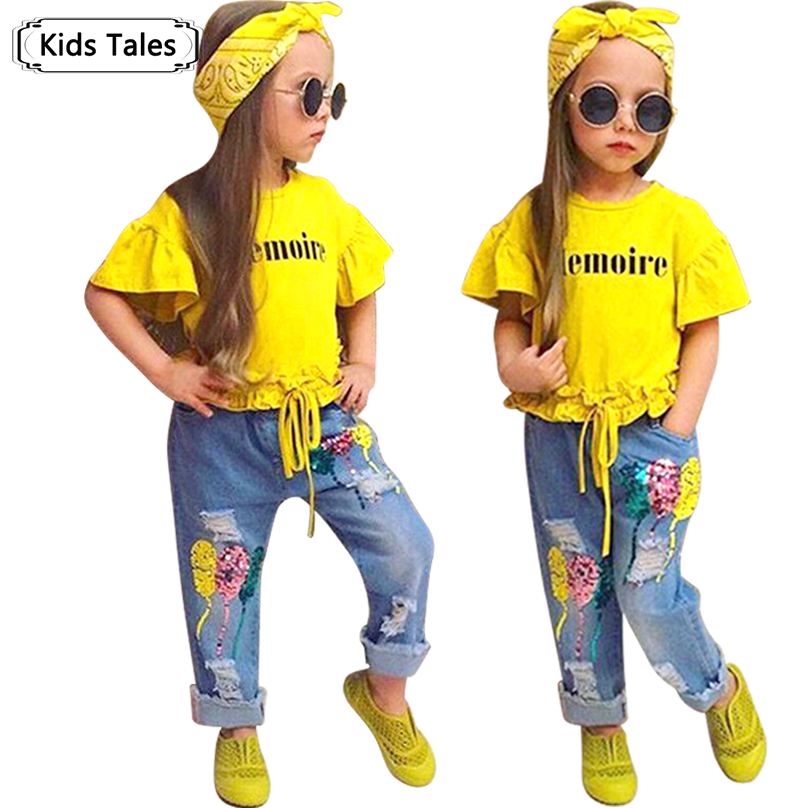 Children Sets for Girls Fashion 2018 New Style Girls Suits for Children Girls T-shirt + Pants + Headband 3pcs. Suit ST307 baby fashion clothing kids girls cowboy suit children girls sports denimclothes letter denim jacket t shirt pants 3pcs set 4 13
