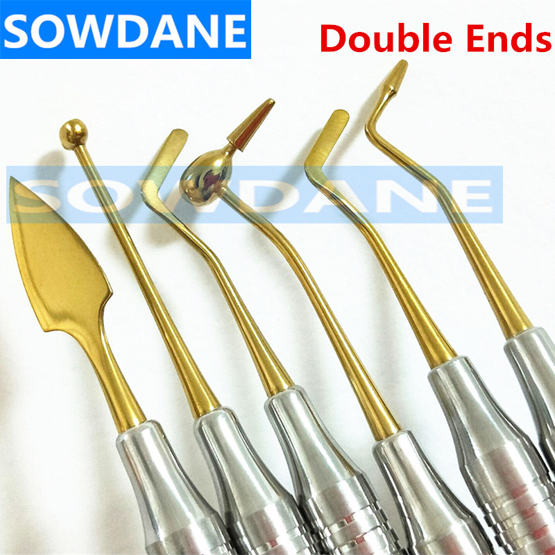 Teeth Whitening Composite Resin Filling Spatula Titanium Plated Head Resin Filler Set Dental Tool Thick Handle Restoration Set