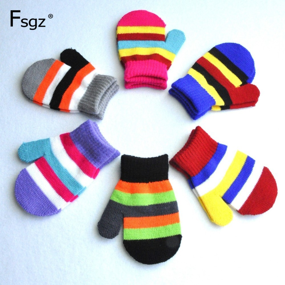 Kids Warm Gloves Colors Stripped Patchwork Knitted Glove Anti-Grasping Gloves Acrylic Wrapped Fingers Mittens For 1-3 Years Old