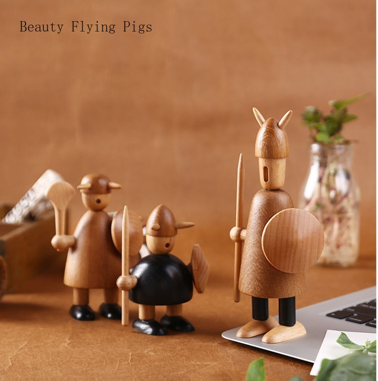 Nordic original woodcarving Viking home decorations solid wood decorations indoor ornaments creative gifts free shipping(China)