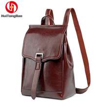 2019 Fashion Women Genuine Leather Bag Ladies Backpack Oil Wax Leather School Bags for Teenage Girls women backpack genuine leather backpack women school bags for teenagers fashion leisure backpacks for teenage girls