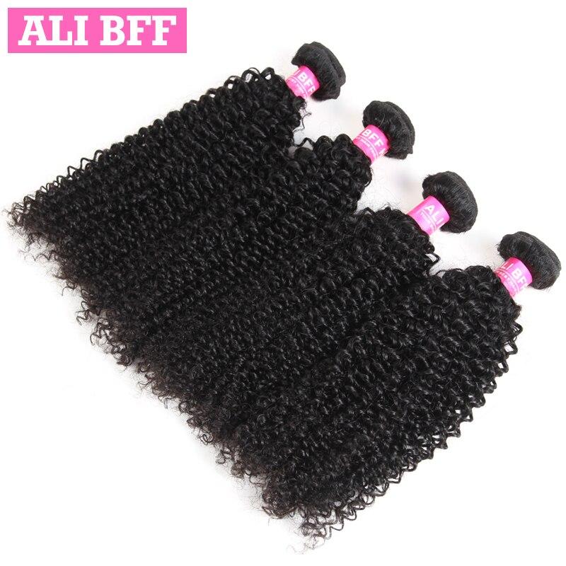 ALI BFF Peruvian Kinky Curly Hair Extensions 100% Human Hair Weave Bundles Remy Hair 4 PCS Lot Free Shipping Natural Black