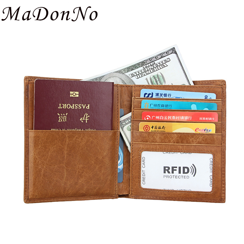 Leather Passport Cover ID Business Card Holder Travel Credit Wallet for Men