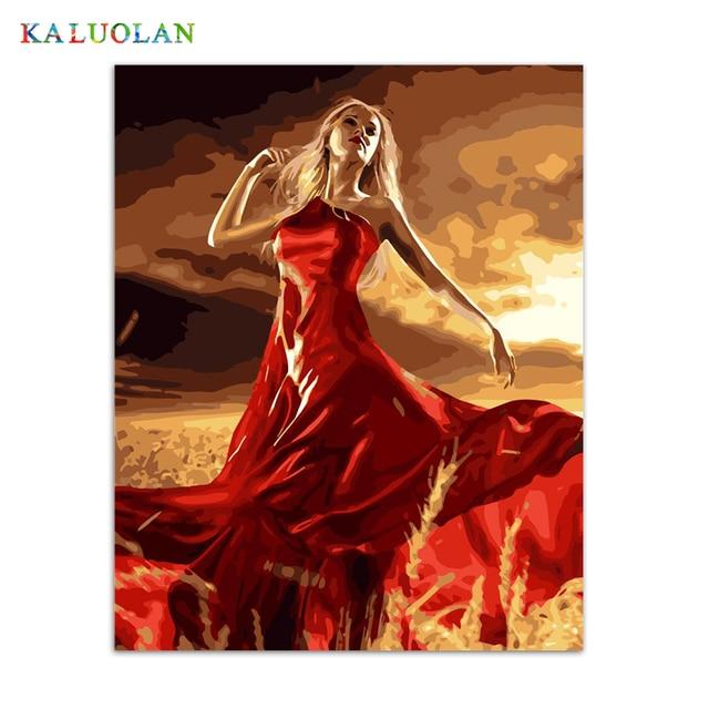 € 14.11 |Sans cadre peinture par numéros paintquadros de parede par sala  pour salon moderne à l\'huile abstraite peinture La fille en rouge q163 ...