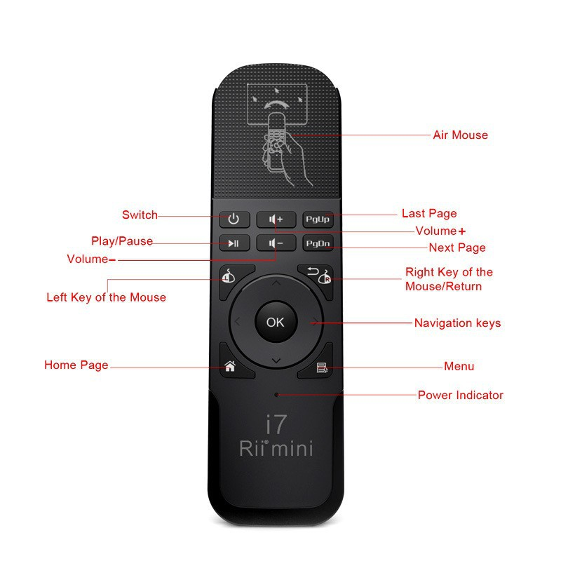 Rii mini i7 Mini Fly Air Mouse 2.4G Wireless Built-in 6 Axis Gaming Motion Sensing Remote Control for PC/Smart tv/Android Box