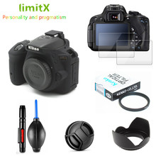 Kit Protetor de Tela completa Proteja caso Câmera Lens hood Cap Filtro UV caneta de Limpeza Air Blower para Nikon D5600 AF P 18 55mm VR