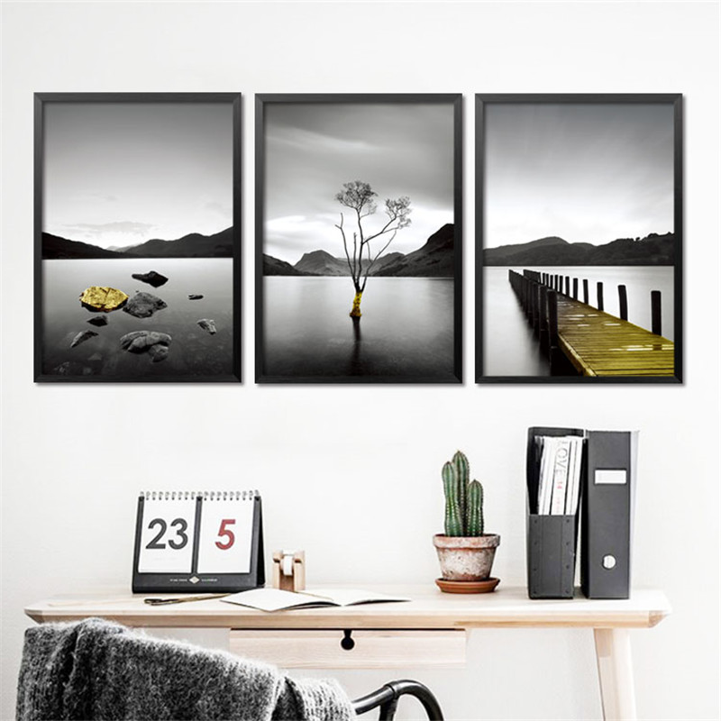 Buy modern black white scenery wall for Black and white mural prints