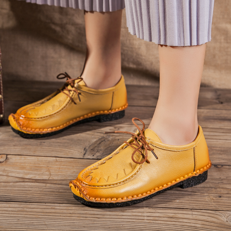 Nouvelle Noir Randonnée Style Automne Mou Main Rétro Plates De National Clair Femmes Avec Fond Confortable Casual jaune jaune rouge En Cuir Chaussures 3TFKlJc1