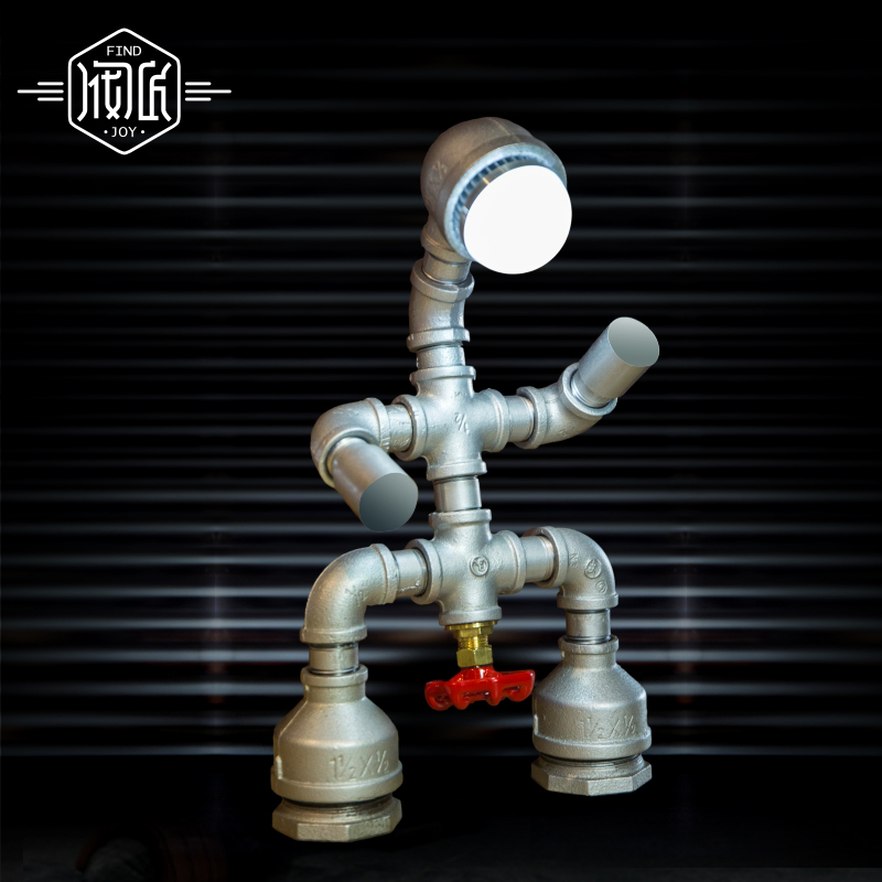 Little Robot Vintage Table Lamp For Bedroom Loft Industrial Style Water Pipe Lamp Luminaria Abajur Para Quarto Lamparas De Mesa desk lamp e27 base fabric lampshade table lamp for study abajur para quarto luminaria de mesa ac220 eu plug switch light