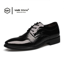 New 2016 Oxford Shoe For Men Dress Shoe Simple Patent Leather Office Lace-Up Wedding Shoes Casual Flat Zapatos Hombre Black Mens