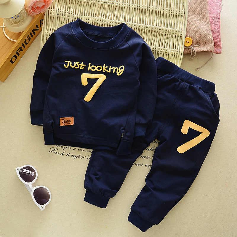 Spring Autumn Children Boys Girsls Clothing Cotton Long Sleeve Letter Sets Kids Clothes Tracksuit Baby T-Shirt Pants 2 Pcs/Suit