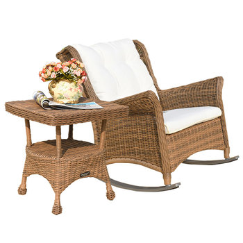 Sunshine outdoor rattan table and chairs villa courtyard garden leisure rocking chair coffee table combination national music museum chair western musical instrument stool free shipping villa garden coffee table desk retail wholesale