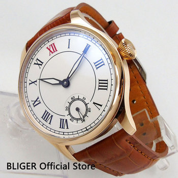 Fashion Luxury Sterile 44mm Hand Winding Men's Watch Rose Gold Case 6498 Movement Leather Strap