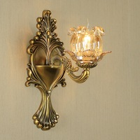 All Copper Living Room Retro Wall Lamp Bedroom Creative Candle Crystal Lamp Corridor Lamp antique bronze wall lights led