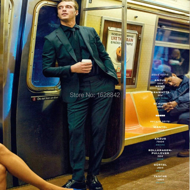Мода Уличный Стиль Костюмы Прохладный Мужчины Зеленый Terno 2 Шт Куртка + Брюки Однобортный Костюм Homme Индивидуальные Плюс размер Костюмы