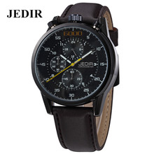 JEDIR Digital Men watches newest Large Dial Male Business quartz waterproof watch movement Leather Strap Wristwatch for Man 2016