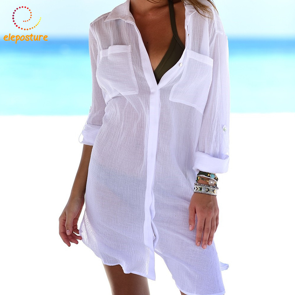 2018 Beach Cover Up Women Bikini Swimwear Cover Up Sexy Beach Shirt Ladies Tunic Bathing Suits Cover-Ups Beachwear Robe De Plage