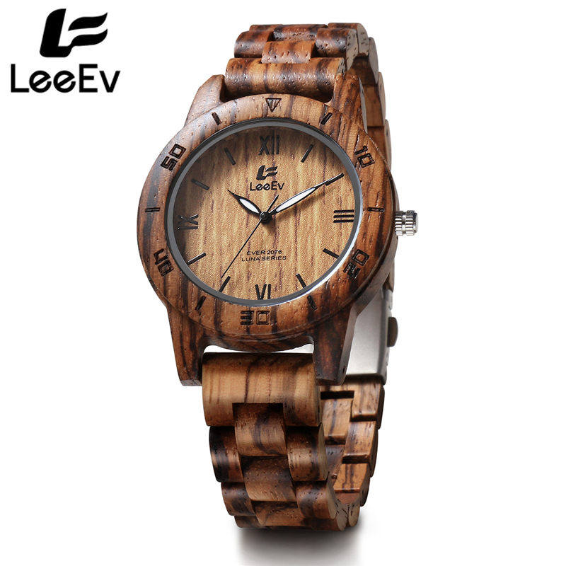 LeeEv Luxury Full Wooden Zebra Watches Man Antique Analog Nature Full Wood Quartz Wristwatch Male Relogio Masculino EV2076 vintage wooden wristwatch full wood case analog classic zebra pattern band male female clock simple sport quartz watch relogio