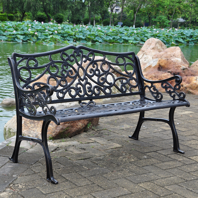 Купить с кэшбэком 47 inch 2-person antique cast aluminum weather resistant  path chair garden patio benches porch chair for outdoors