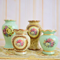 Europe classic ceramic vase for flowers centerpieces for wedding home table Christmas party decoration vintage green brown