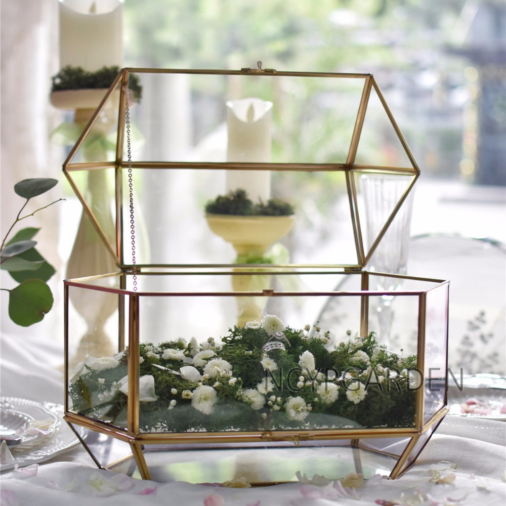 Large Geometric Glass Wedding Card Box Keepsake Recipe Reception Card Envelope Holder Display Gift Card Box with Swing Lid