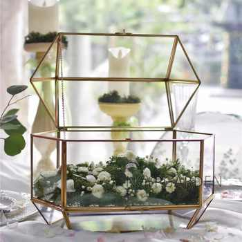 Large Geometric Glass Wedding Card Box Keepsake Recipe Reception Card Envelope Holder Display Gift Card Box with Swing Lid - DISCOUNT ITEM  5% OFF All Category
