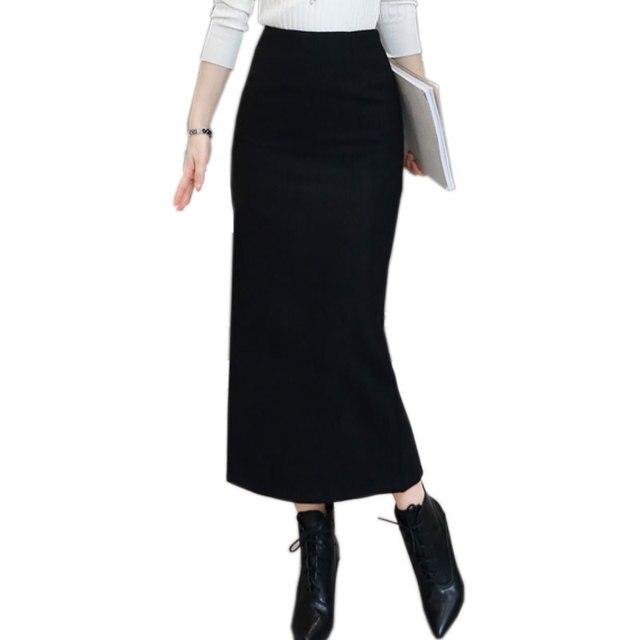 0bba0053d97287 2018 Dames Elegant Winter Maxi Rokken Vrouwen Wollen Lange Rok Hoge Taille  Wijn Rood Slank Split