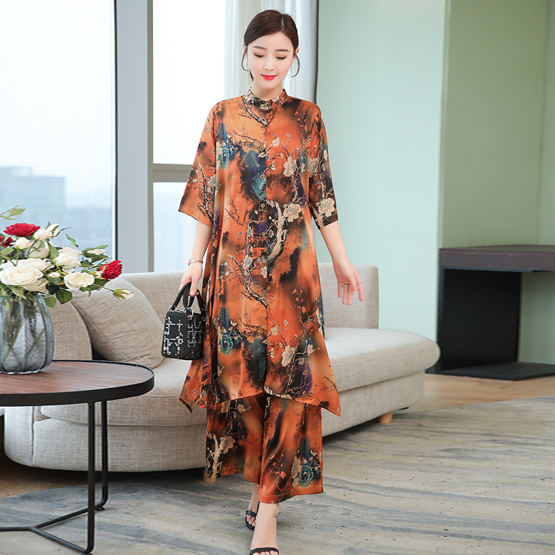 Green plus size large big 2 piece set women clothing pants and top long co ord set print floral 2019 summer outfit tracksuit in Women 39 s Sets from Women 39 s Clothing