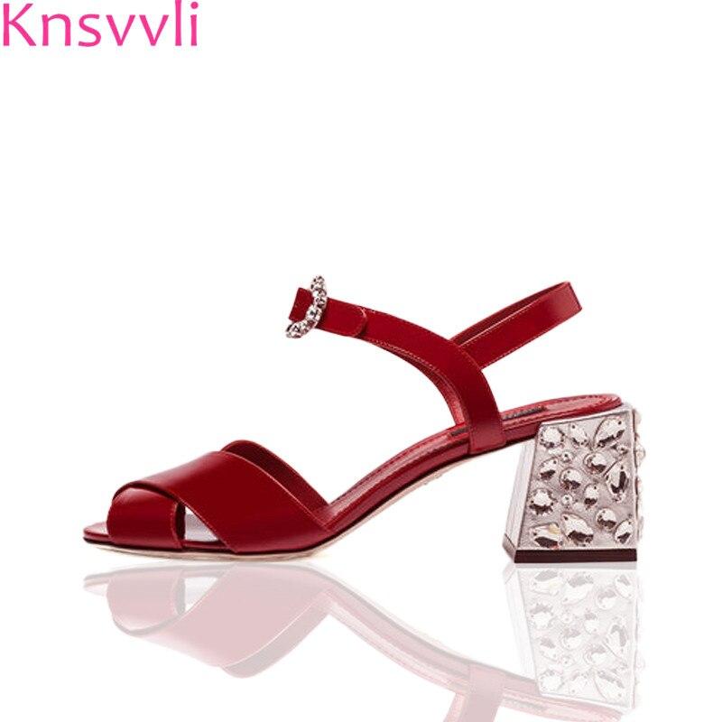 Knsvvli summer red genuine leather crystal chunky heel sandals women rhinestone round buckle black high heel sandalias mujer
