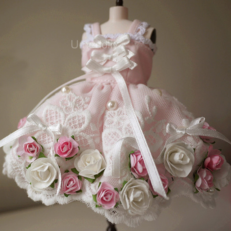 1PCS Handmade Lovely Princess Pink Floral Dress for Blyth Licca Azone Pullip Doll Dress Clothes Outfits