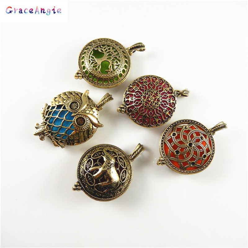 Ароматерапия Медальоны кулон ожерелье Бесплатные войлочные прокладки круглые белые K полая звезда в форме распылитель эфирных масел ожерелье Шарм