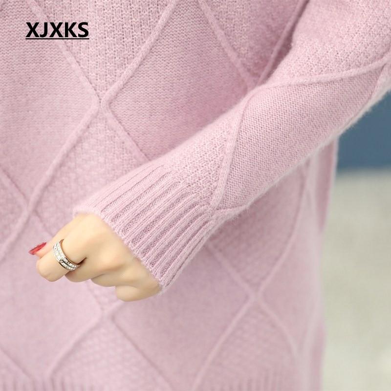 De Et Pour Gamme Casual kaki rose Xjxks Laine Confortable Femmes Haut Cachemire Beige Tricot Long Pull Roulé Col Vêtements Chandail R85IqBn