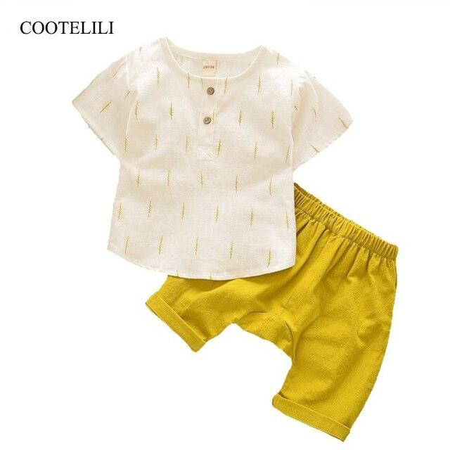 COOTELILI Lençóis de Algodão Crianças Meninos Verão T-Shirt + Shorts Ternos Conjuntos de Roupas Meninos Das Meninas Do Bebê Top Crianças Roupas Sets 90 -130 centímetros
