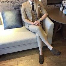 Jacket Vest Pant Short Sleeve Summer Suit 2017 S 3XL Mens Suits Wedding Groom Party