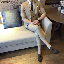 (Jacket+Vest+ Pant) Short Sleeve Summer Suit 2017 S-3XL Mens Suits Wedding Groom Party Prom Decent Vintage Mens Suit 5 Colors