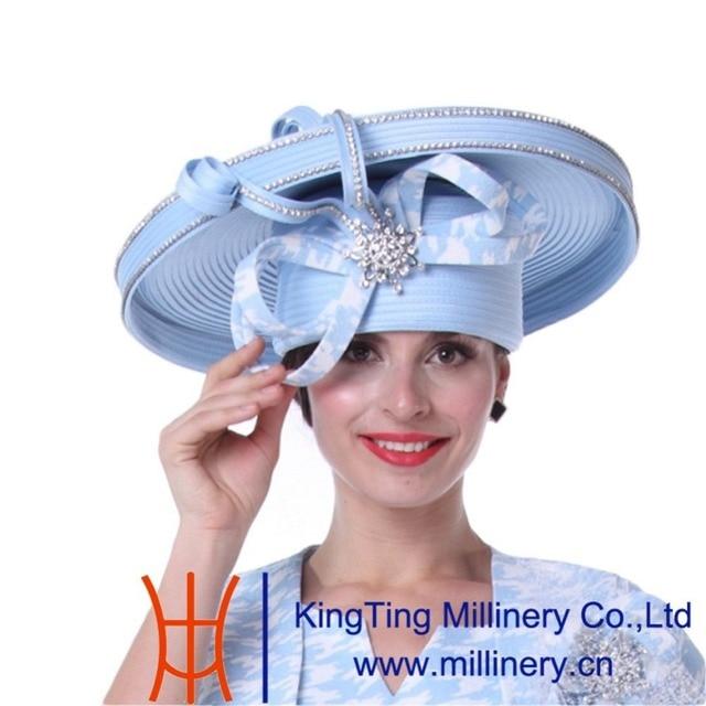 a6e685e558c Kueeni Women Church Hats New Designed Royal Blue Ladies Elegant High Noble  Diamond Casing Large Size Wide Brim Party Dress Hats