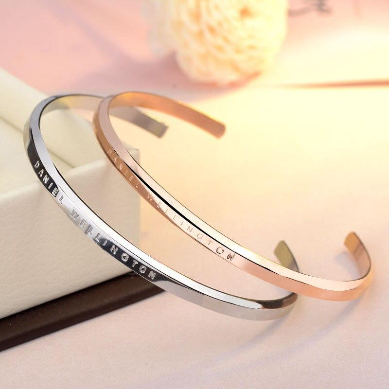 Neue dw armbänder manschette classic open rose gold silber schwarz armreif 316L edelstahl armband frauen und männer armband pulsera