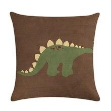 Dinosaur Style Linen Pillow Case Animal Cushion Cover Sailing Mermaid for Sofa Home Decorative Throw Pillow Cover 45x45cm